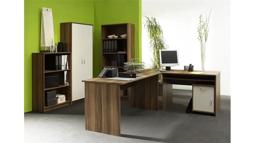Büroset COMPACT Büoprgramm Büro in Walnuss und weiß