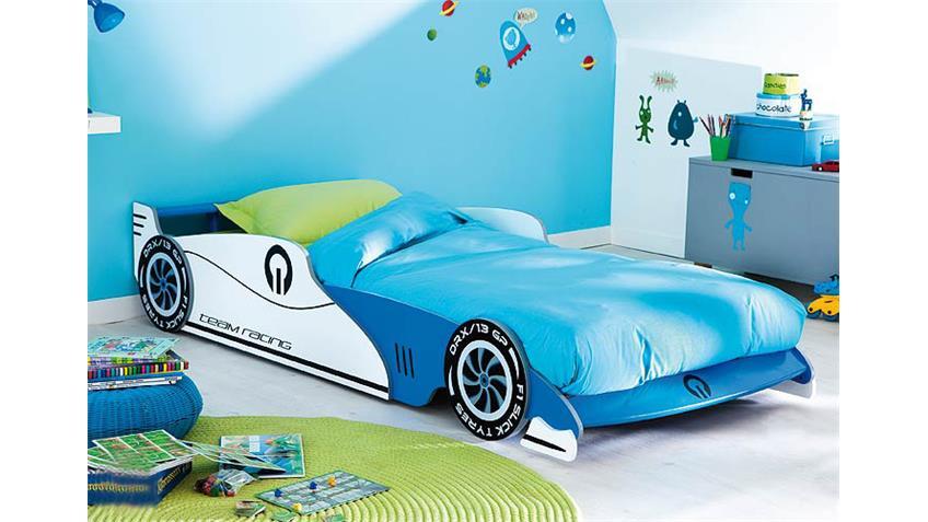 Kinderbett II F1-TEAM Autobett für Kinderzimmer blau weiß