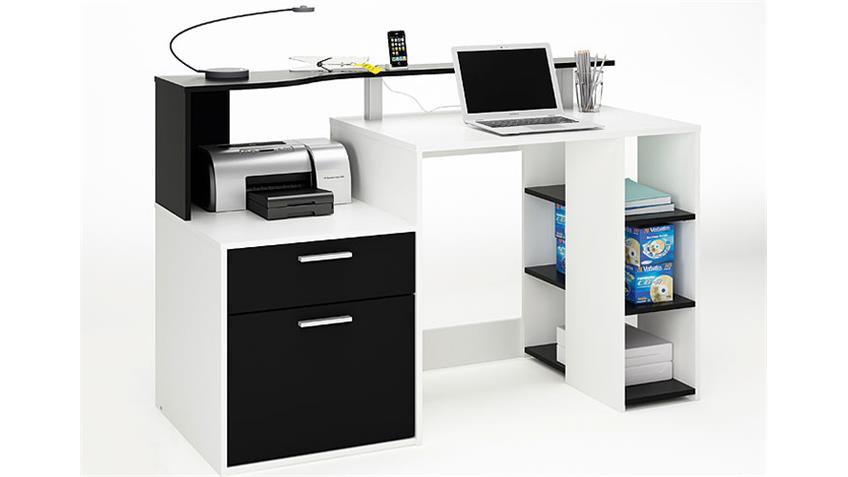 Schreibtisch III ORKO Computertisch in schwarz und weiß