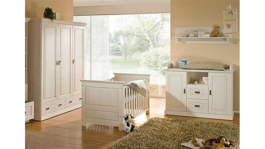 Babyzimmer RONJA weiß Kiefer massiv mit Bett Schrank WiKo