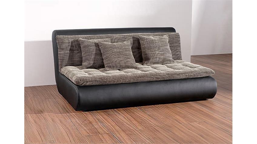 Sofa CLUB II schwarz Lederlook Zwischenelement mit Kissen