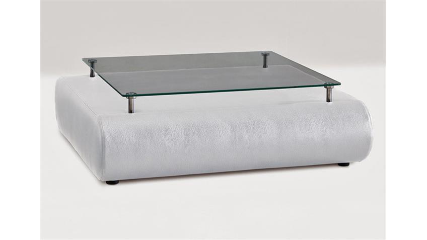 Couchtisch I CLUB Tisch in weiß mit Glasplatte Polstermöbel