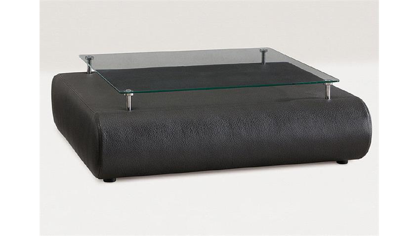 Couchtisch III CLUB Beistelltisch in schwarz mit Glasplatte