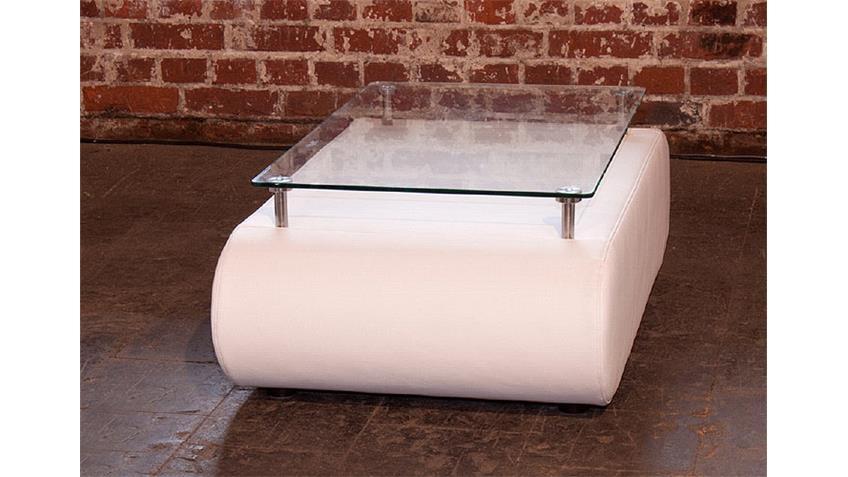 Couchtisch IV CLUB Tisch weiß mit Glasplatte Polstermöbel