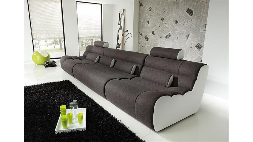 Sofa ELEMENTS I Wohnlandschaft 3-Sitzer in anthrazit weiß
