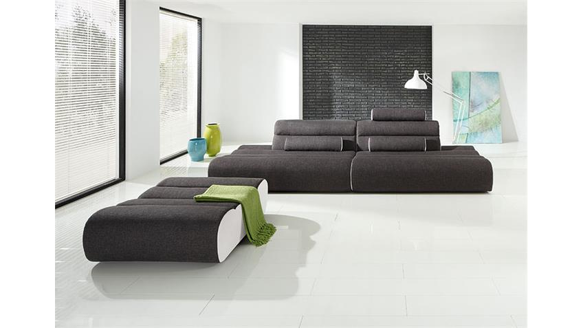 Sofa ELEMENTS Bigsofa Megasofa Sofa in Anthrazit und weiß