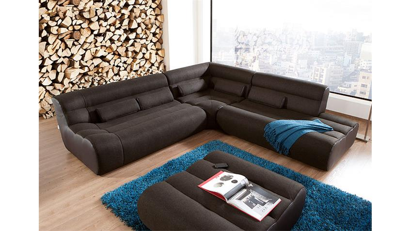 Ecksofa ELEMENTS XI Wohnlandschaft Bigsofa Sofa in braun