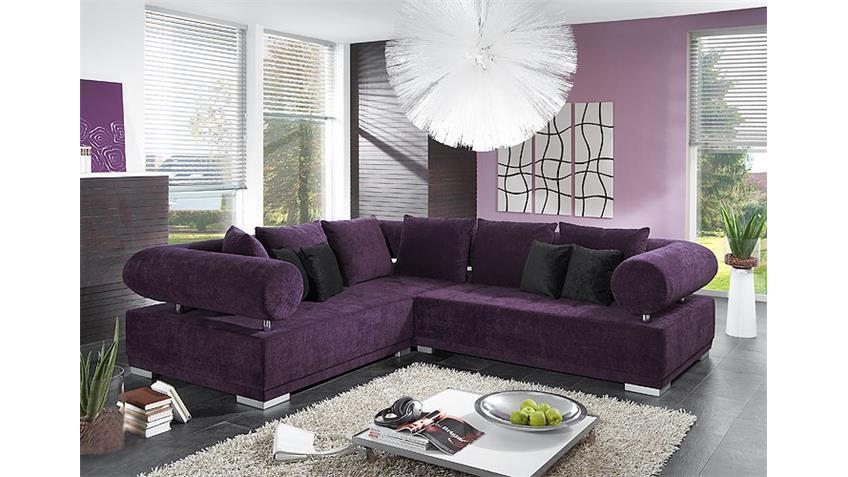 Ecksofa FROG Sofa Megasofa Wohnlandschaft in lila und Chrom