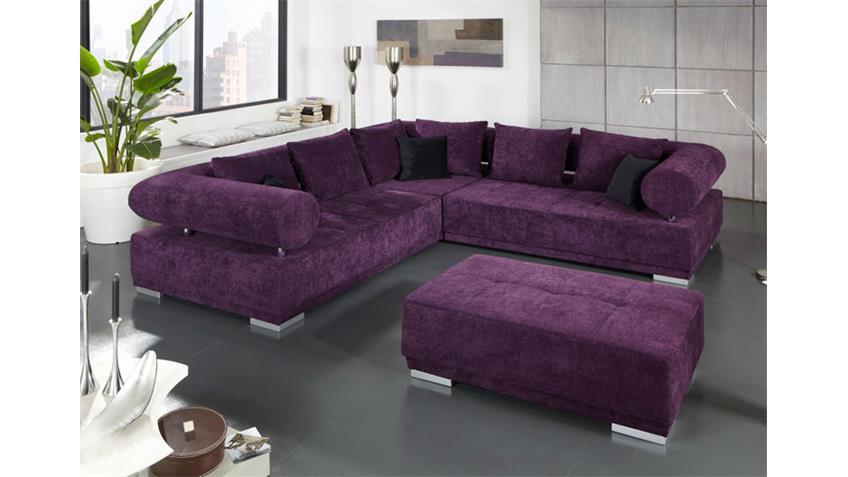 Ecksofa FROG II Sofa Megasofa Bigsofa in lila und Chrom