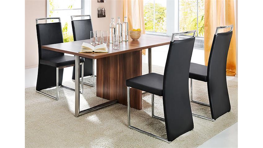 Stuhl LAZIO Stühle 4er Set in Schwarz und Gestell in Chrom