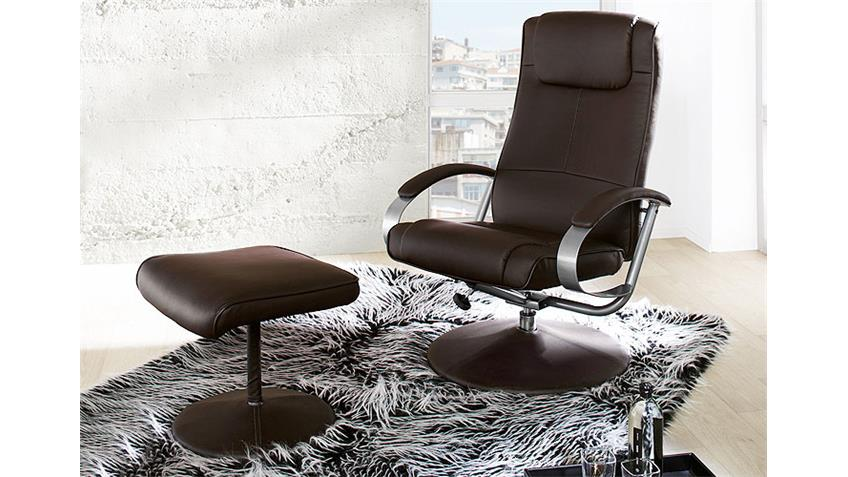 Relaxsessel und Hocker RICON Sessel drehbar in braun