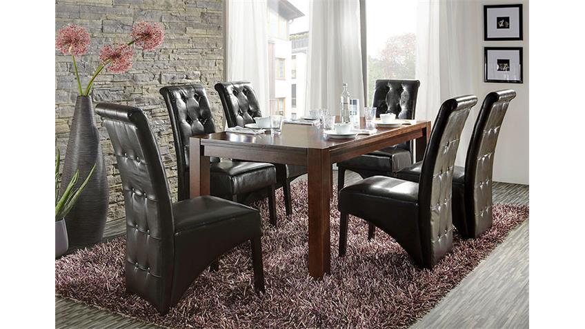 Esstisch LILO Küchentisch Gummibaum massiv in dunkel 160x90