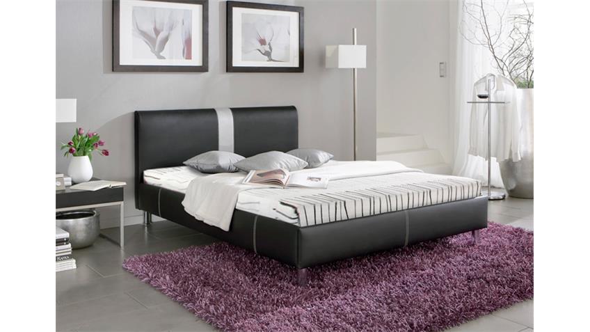 Polsterbett DENVER Bett Schlafzimmerbett schwarz und grau