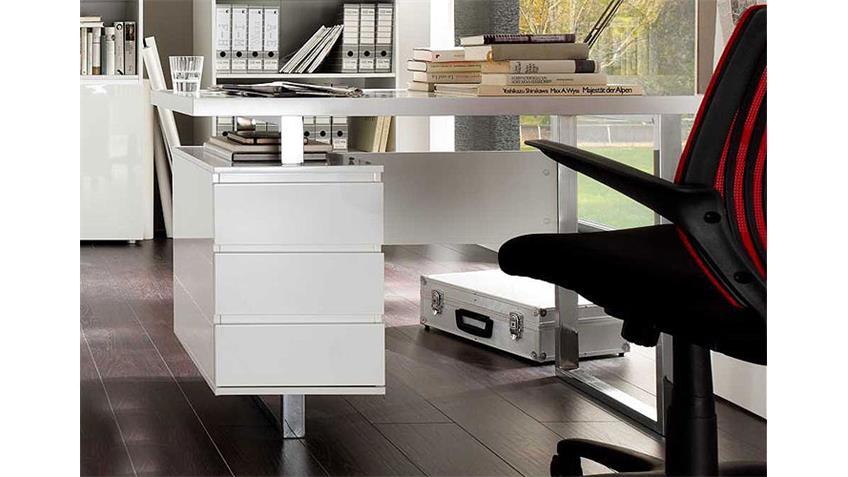 schreibtisch sydney tisch in mdf hochglanz wei lackiert. Black Bedroom Furniture Sets. Home Design Ideas
