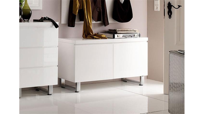 Kommode SYDNEY IV Schrank Garderobe in weiß hochglanz Lack