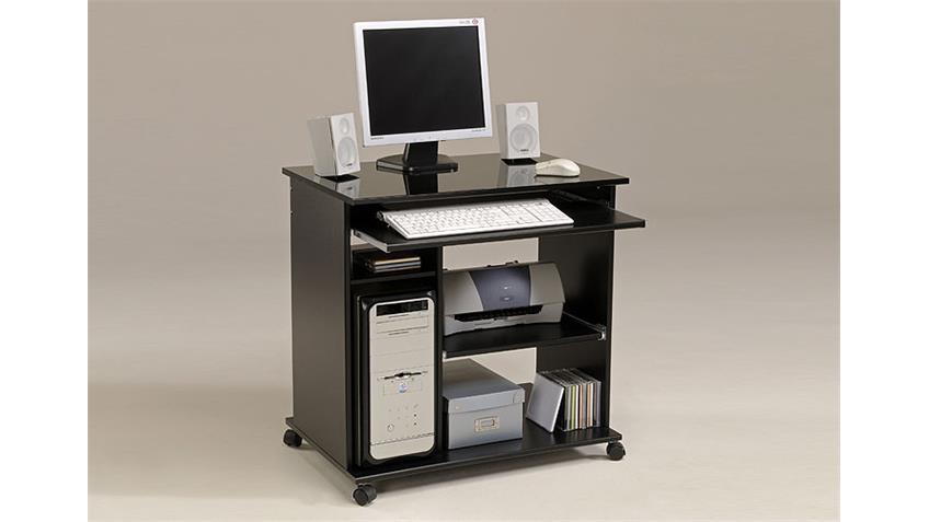DESKMAX Schreibtisch II Schwarz Hochglanz