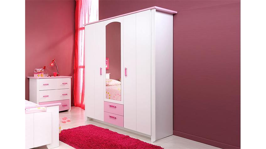 Kleiderschrank I BEAUTY Schrank in Weiß & Rosa mit Spiegel