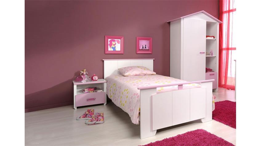 Kinderzimmerset BEAUTY III in Weiß mit rosa Absetzung 3 tlg