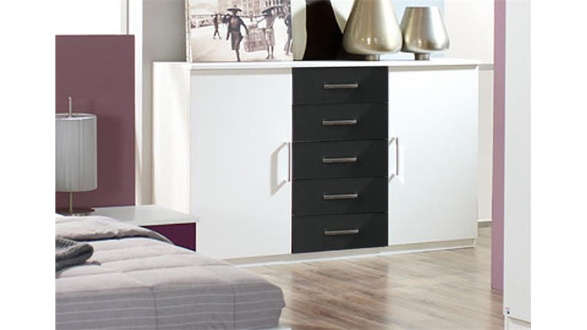 Kommode BURANO Sideboard in weiß und grau Metallic Dekor