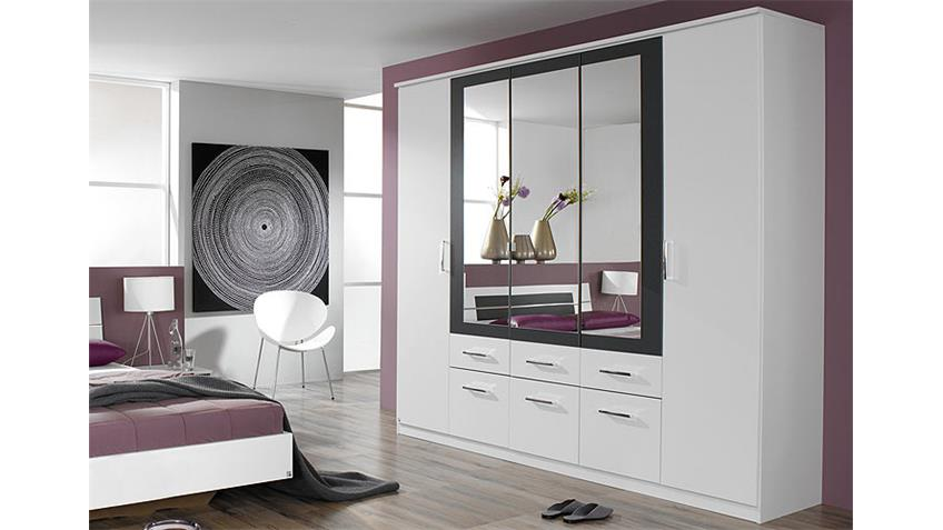 kleiderschrank burano in wei und grau metallic 226 cm. Black Bedroom Furniture Sets. Home Design Ideas