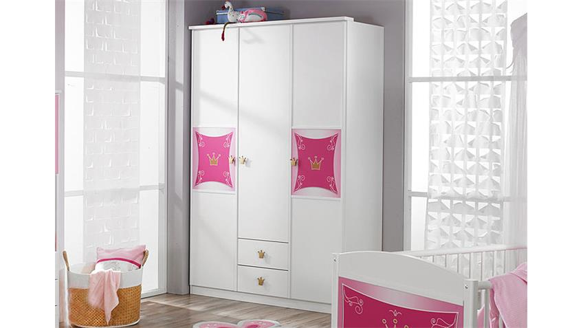 Kleiderschrank KATE Schrank in Weiß und Rosa Dekor 3-türig