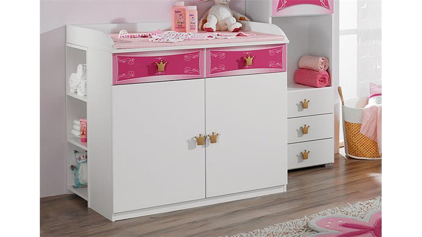 Wickelkommode KATE Wickeltisch weiß und rosa Schubkästen