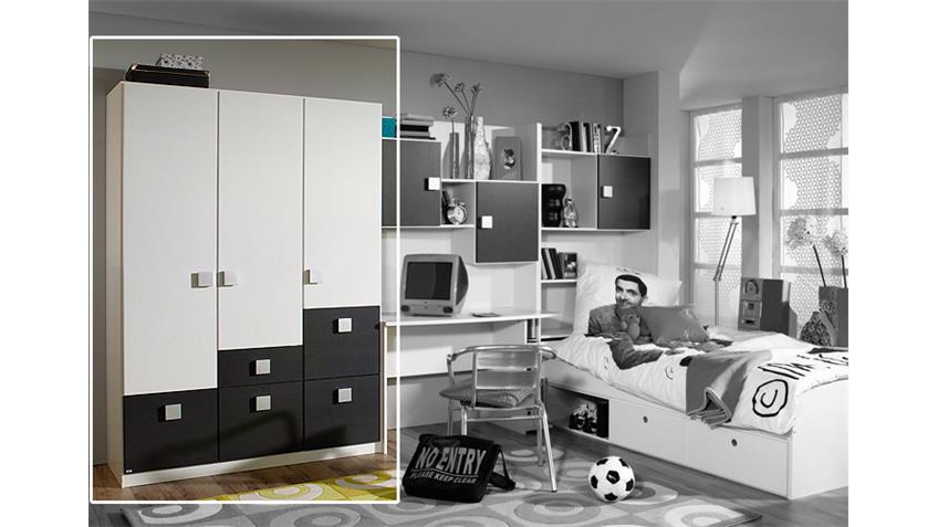 Kleiderschrank SKATE in Weiß und Metallic- Grau 136 cm