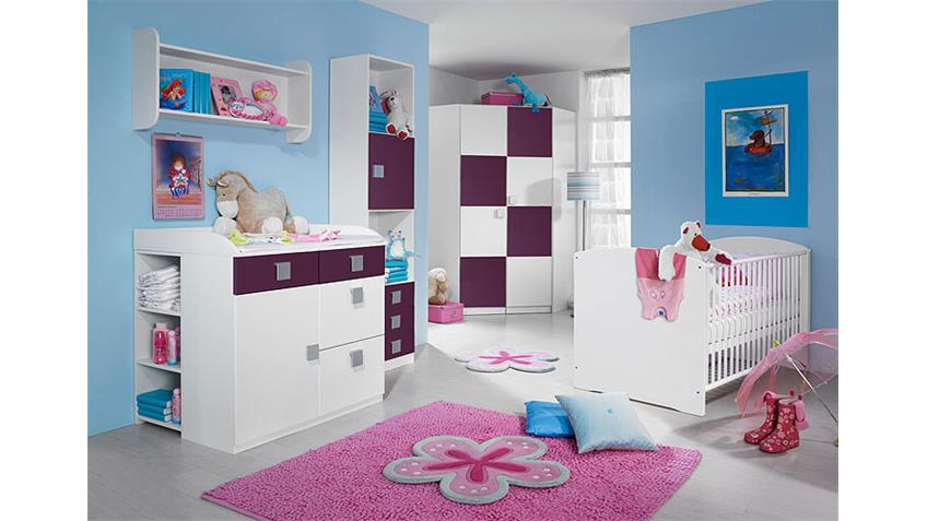 babyzimmer skate kinderzimmer mit eckschrank in wei lila. Black Bedroom Furniture Sets. Home Design Ideas