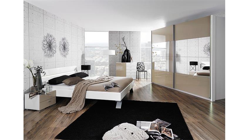 AVELA Kleiderschrank 225 cm Weiß/Spiegel/Sandgrau Hochglanz