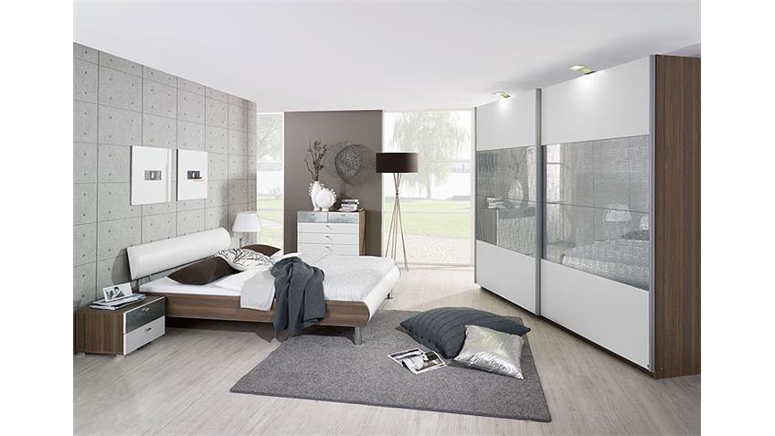 Schwebetürenschrank CALUA Esche und weißer Front 225 cm