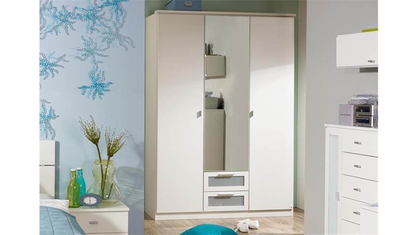 Kleiderschrank CHICA Alpinweiß 3-türig mit Spiegeltür 136 cm