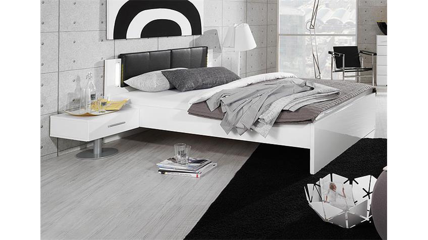 Bett LIMIT in weiß und Leder schwarz mit Kopfteil und LED
