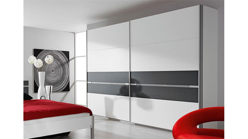 Schwebetürenschrank RONCO I Kleiderschrank in weiß und grau