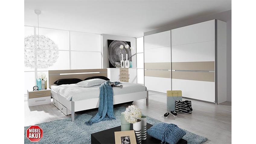 Schlafzimmerset RONCO Schlafzimmer in weiß Dekor und grau