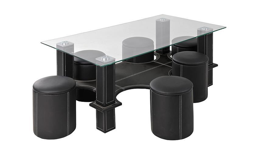 Sitzgruppe SERANO Tisch mit sechs Hockern in schwarz