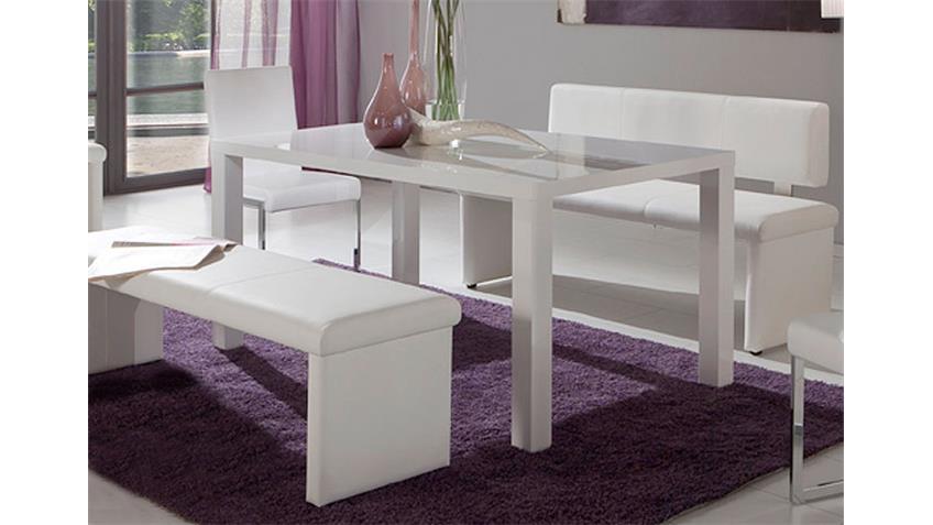 NANDO Esstisch Weiß Hochglanz 160 x 90 cm