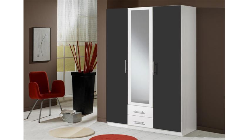 kleiderschrank clip schrank in wei und anthrazit 3 t rig. Black Bedroom Furniture Sets. Home Design Ideas