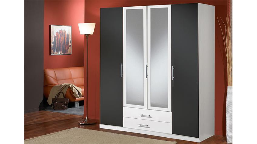 Kleiderschrank CLIP Schrank in weiß und anthrazit 4 türig
