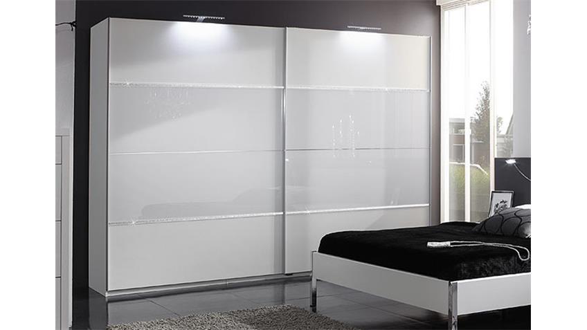 PLATO Schwebetürenschrank 270 I Weiß/Weißglas/Strass