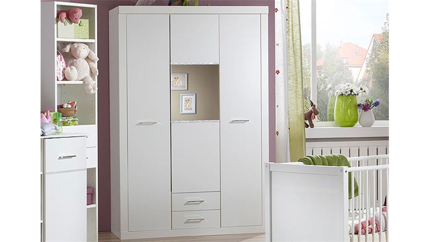 Kleiderschrank NIGHT in weiß mit Strasskristall 135 cm
