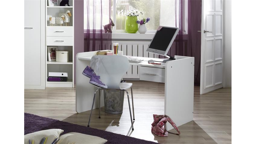Schreibtisch NIGHT in Alpinweiß Dekor und Strasskristall