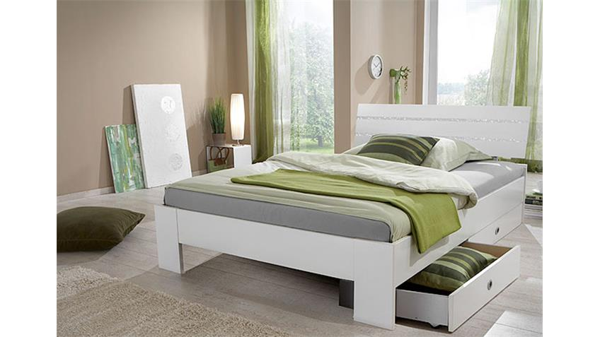 Bett NIGHT in Alpinweiß Dekor mit Strasskristall 140x200 cm