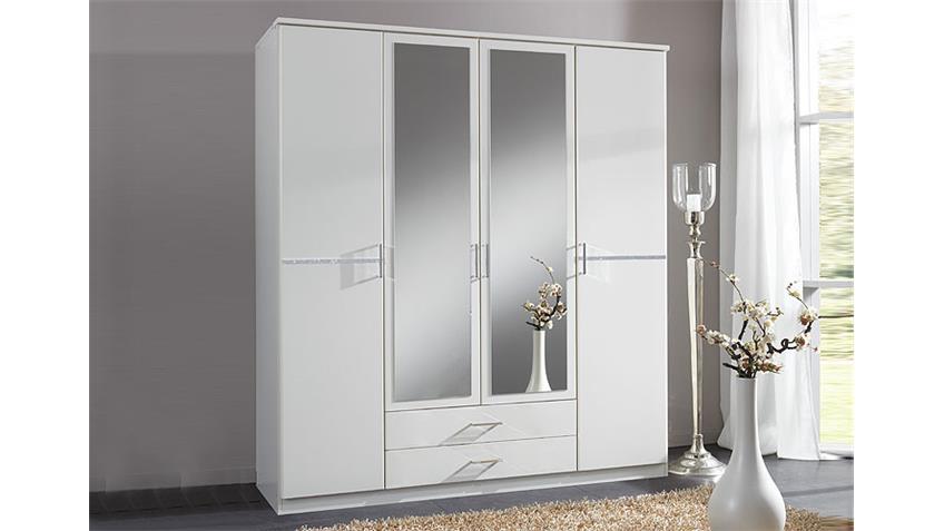 KOMARO Kleiderschrank 135 cm Weiß/Strass