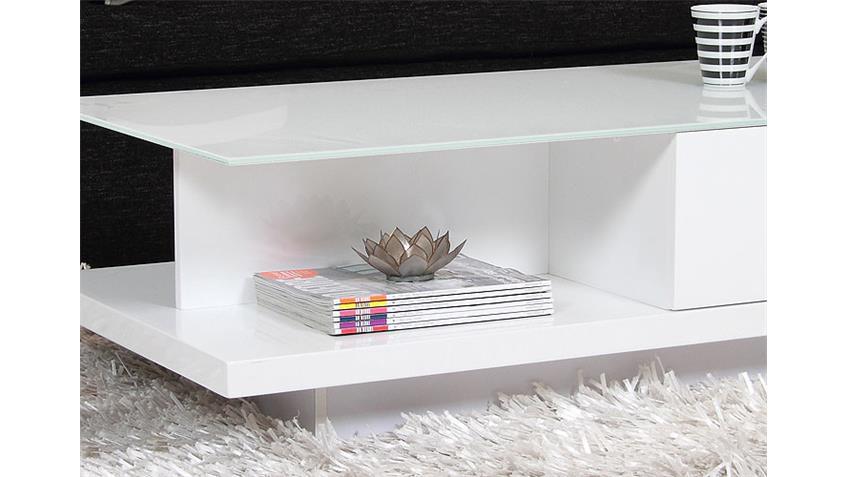 Couchtisch JEFF Tischplatte Kristallglas Weiß