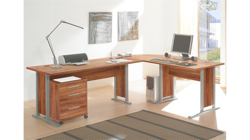 Büroset OFFICE LINE BIZ Büroprogramm Büro in walnuss 7-tlg