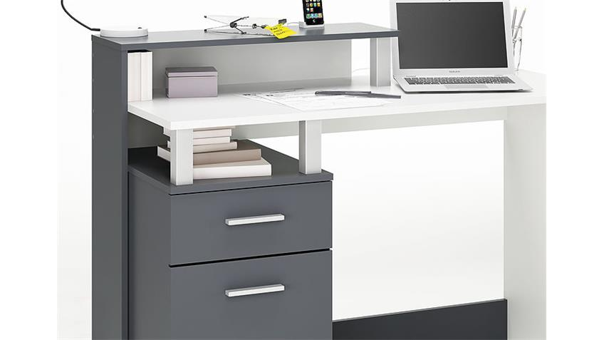 Schreibtisch IV ORKO Tisch in Graphite Grau und Weiß