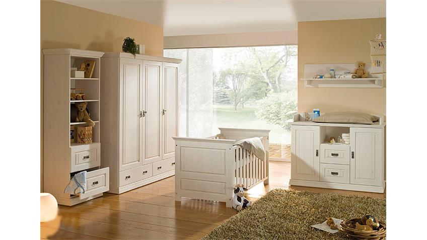 Wäscheschrank RONJA Babyzimmer Schrank in Kiefer weiß