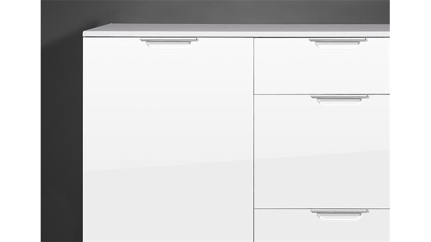 Kommode GEO II Sideboard in MDF weiß hochglanz Germania