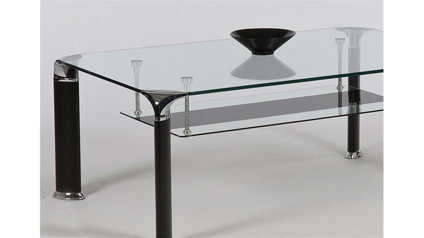 Couchtisch VIDAL Tisch mit Klarglasplatte in schwarz 109 cm