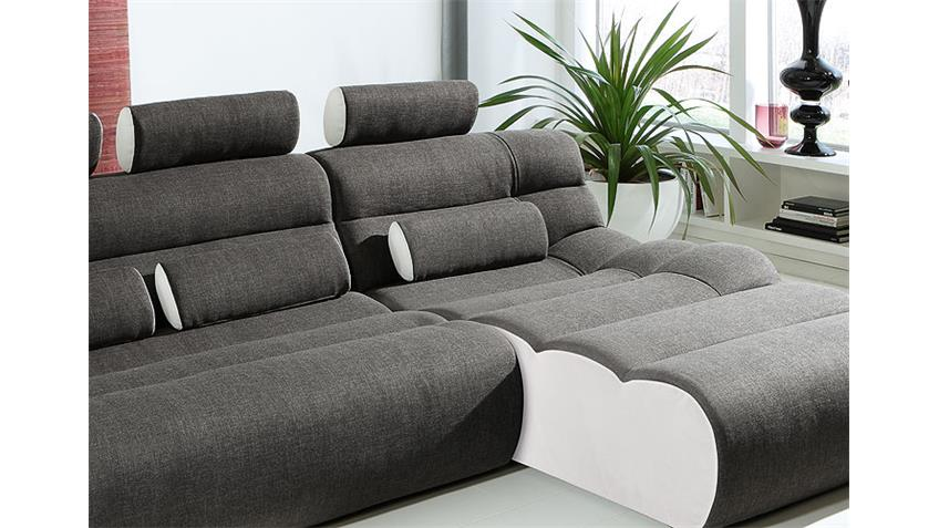 Ecksofa ELEMENTS VII Megasofa Sofa in anthrazit und weiß